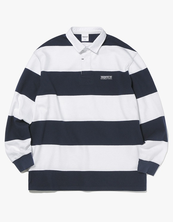 thisisneverthat Striped Rugby Shirt - Navy/White | HEIGHTS. | 하이츠 온라인 스토어