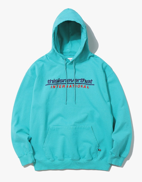 thisisneverthat SP-INTL. Logo Hooded Sweatshirt - Blue Green | HEIGHTS. | 하이츠 온라인 스토어