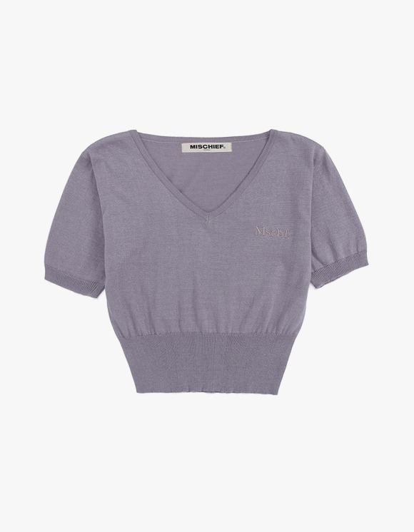 MISCHIEF Cropped V-Neck Knit - Lilac | HEIGHTS. | 하이츠 온라인 스토어