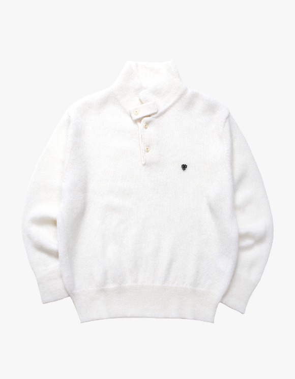 Heritage Floss Mohair Long Sleeve Polo - White | HEIGHTS. | 하이츠 온라인 스토어