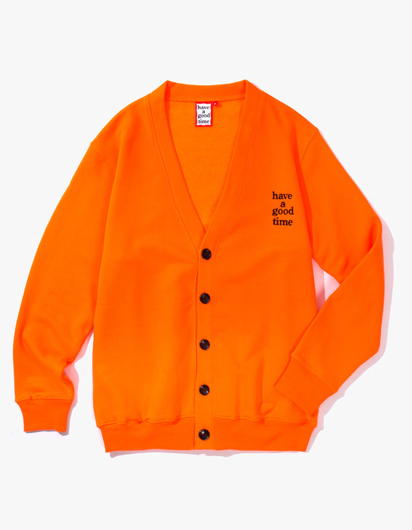 have a good time Sweat Cardigan - Neon Orange | HEIGHTS. | 하이츠 온라인 스토어