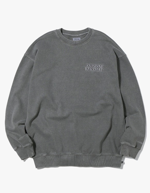thisisneverthat ACE Logo Overdyed Crewneck - Charcoal | HEIGHTS. | 하이츠 온라인 스토어