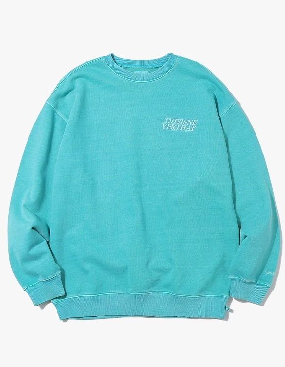 thisisneverthat ACE Logo Overdyed Crewneck - Blue Green | HEIGHTS. | 하이츠 온라인 스토어