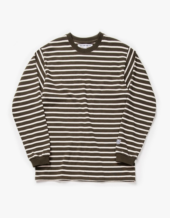 IZOLA NYC Stripe L/S Tee - Olive | HEIGHTS. | 하이츠 온라인 스토어