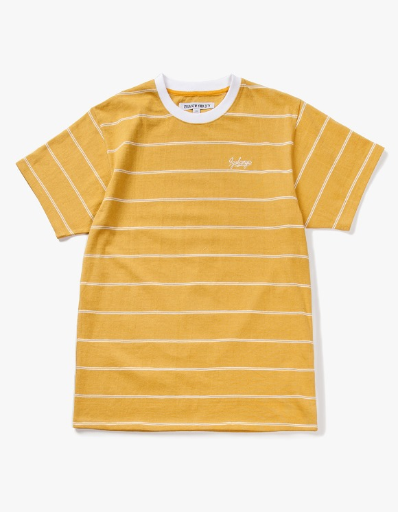 IZOLA NYC Pin Stripe S/S Tee - Yellow | HEIGHTS. | 하이츠 온라인 스토어