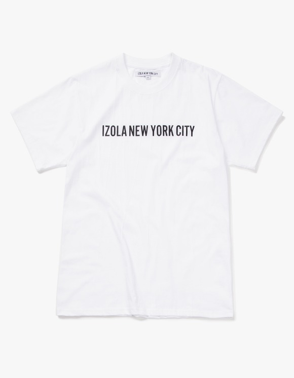 IZOLA NYC Logo S/S Tee - White | HEIGHTS. | 하이츠 온라인 스토어