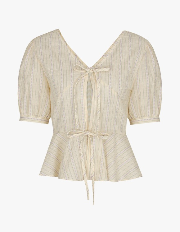 Margarin Fingers Volume Ribbon Blouse - Yellow | HEIGHTS. | 하이츠 온라인 스토어