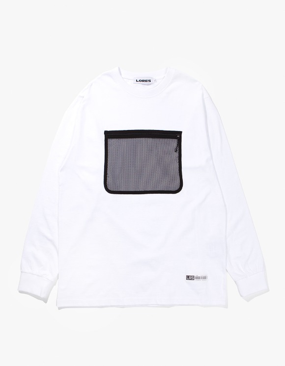 Lores Mesh Pocket L/S T-shirts - White | HEIGHTS. | 하이츠 온라인 스토어