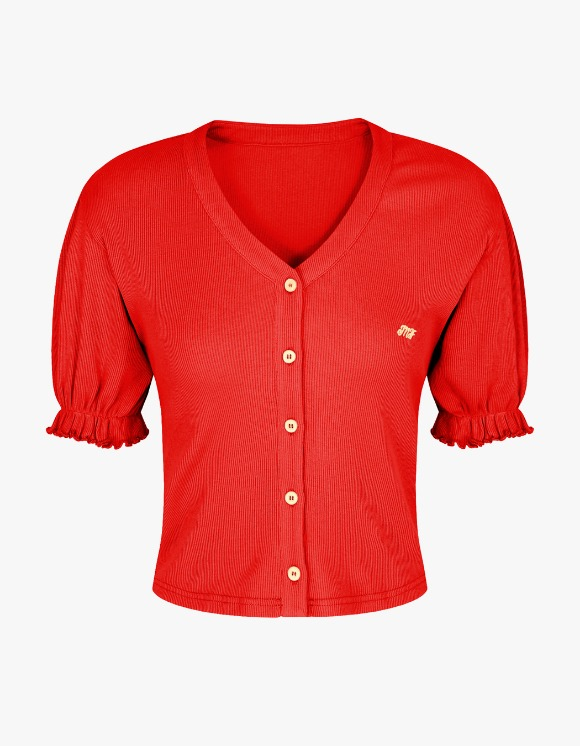 Margarin Fingers MF V neck Cardigan - Red | HEIGHTS. | 하이츠 온라인 스토어