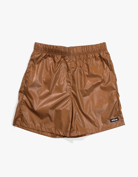 Stussy Langley Shiny Baggy Shorts - Tan | HEIGHTS. | 하이츠 온라인 스토어