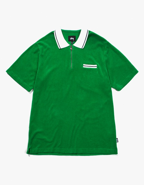 Stussy Terry Lion Zip Polo - Green | HEIGHTS. | 하이츠 온라인 스토어