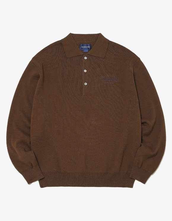 thisisneverthat E/T-Logo Knit Polo - Brown | HEIGHTS. | 하이츠 온라인 스토어