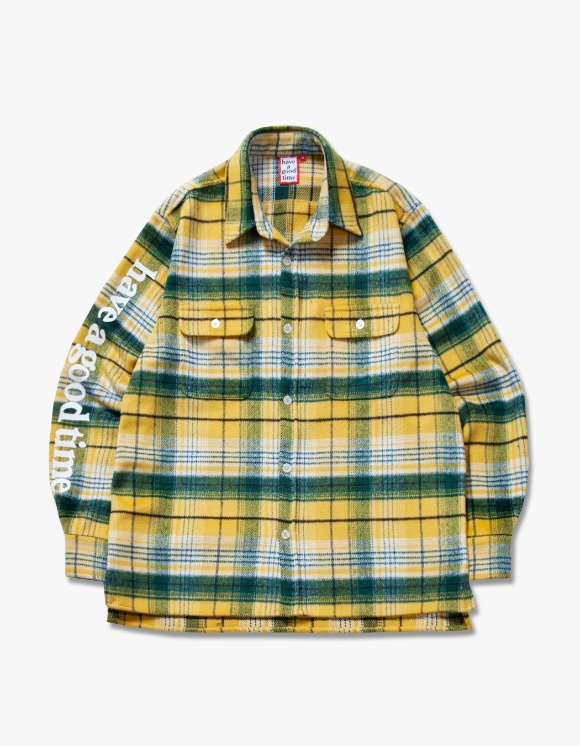 have a good time Side Logo Checked Shirts - Yellow | HEIGHTS. | 하이츠 온라인 스토어