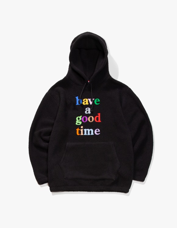 have a good time Colorful Logo Fleece Pullover Hoodie - Black | HEIGHTS. | 하이츠 온라인 스토어