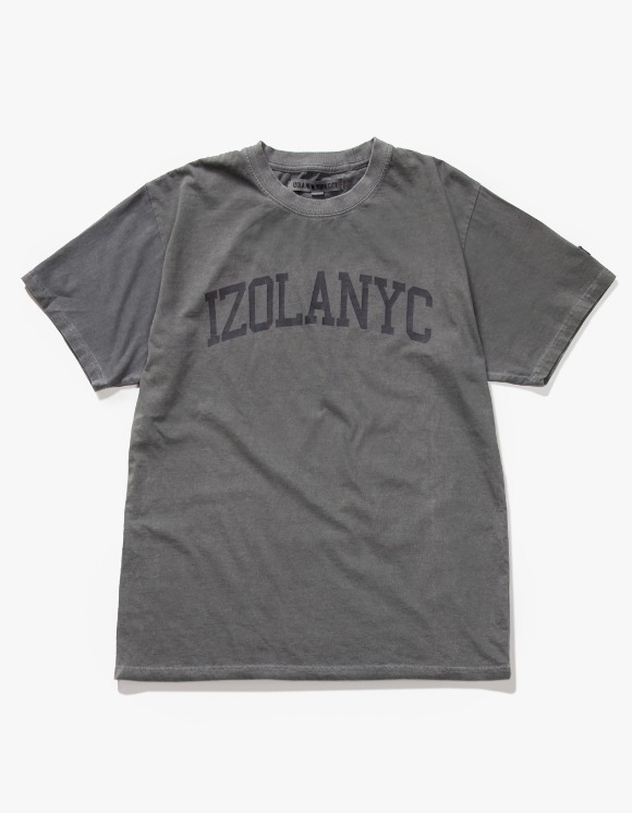 IZOLA NYC Over Dyed College S/S Tee - Charcoal | HEIGHTS. | 하이츠 온라인 스토어