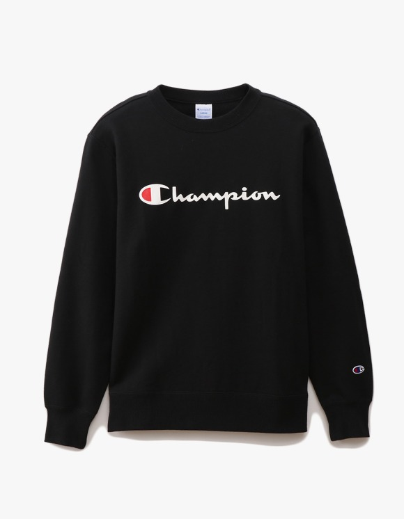 Champion Logo Crewneck Sweatshirts - Black | HEIGHTS. | 하이츠 온라인 스토어