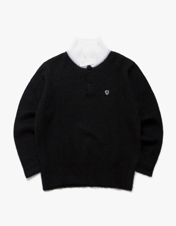 Heritage Floss Mohair Long Sleeve Polo - Black/White | HEIGHTS. | 하이츠 온라인 스토어