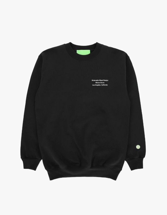 Mister Green Minimalist Weed Design Crew - Black | HEIGHTS. | 하이츠 온라인 스토어