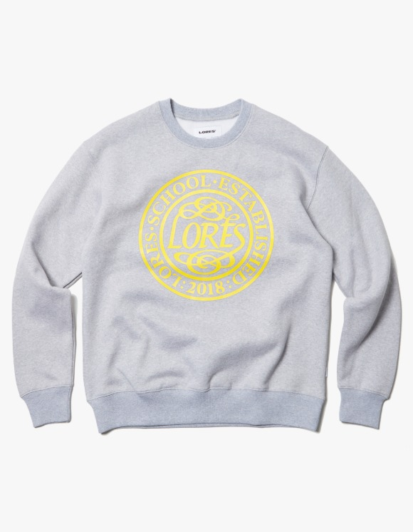 LORES College School Crewneck - Heather Grey | HEIGHTS. | 하이츠 온라인 스토어