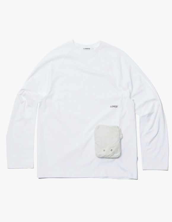 LORES Zip Pocket L/S Tee - White | HEIGHTS. | 하이츠 온라인 스토어