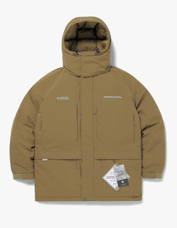 thisisneverthat GORE-TEX® INFINIUM™ Mountain Down Parka - Khaki | HEIGHTS. | 하이츠 온라인 스토어