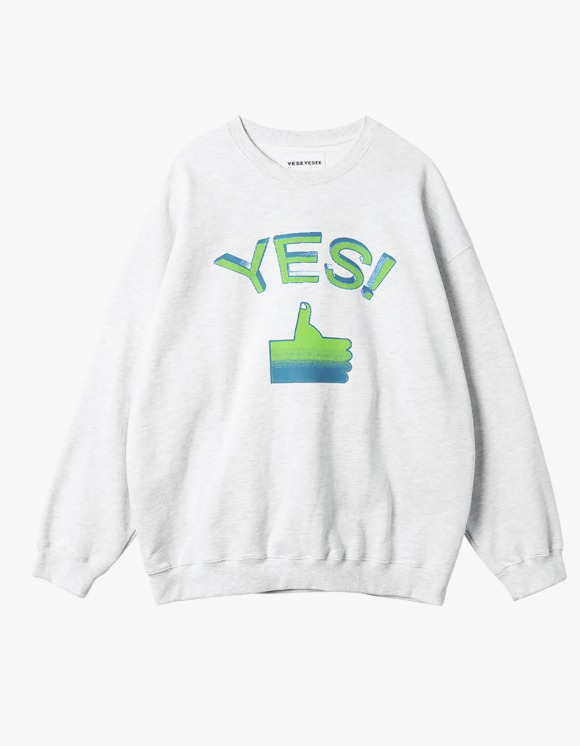 yeseyesee Thumbs up Sweatshirts - Light Grey | HEIGHTS. | 하이츠 온라인 스토어