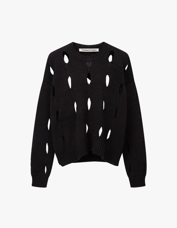 TheOpen Product Cut-Out Cotton Sweater - Black | HEIGHTS. | 하이츠 온라인 스토어