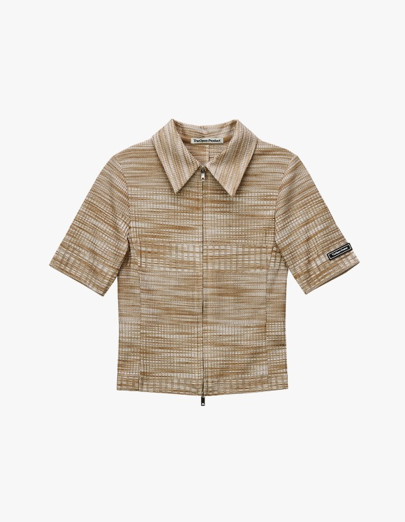 TheOpen Product Two Way Zip Fitted Shirt - Beige | HEIGHTS. | 하이츠 온라인 스토어